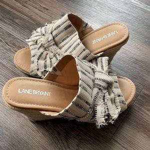 Lane Bryant Woven Wedge Fringe Tie Sandals